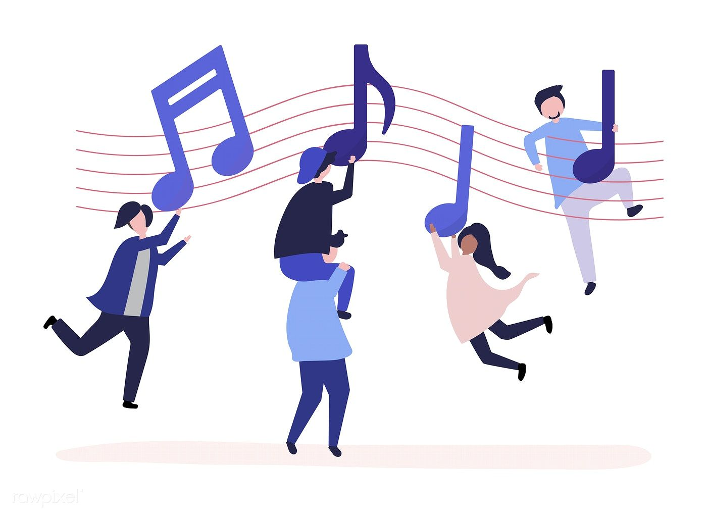 Download Premium Vector Of People Dancing To The Music With Musical Notes People Dancing Dance Vector Musicals
