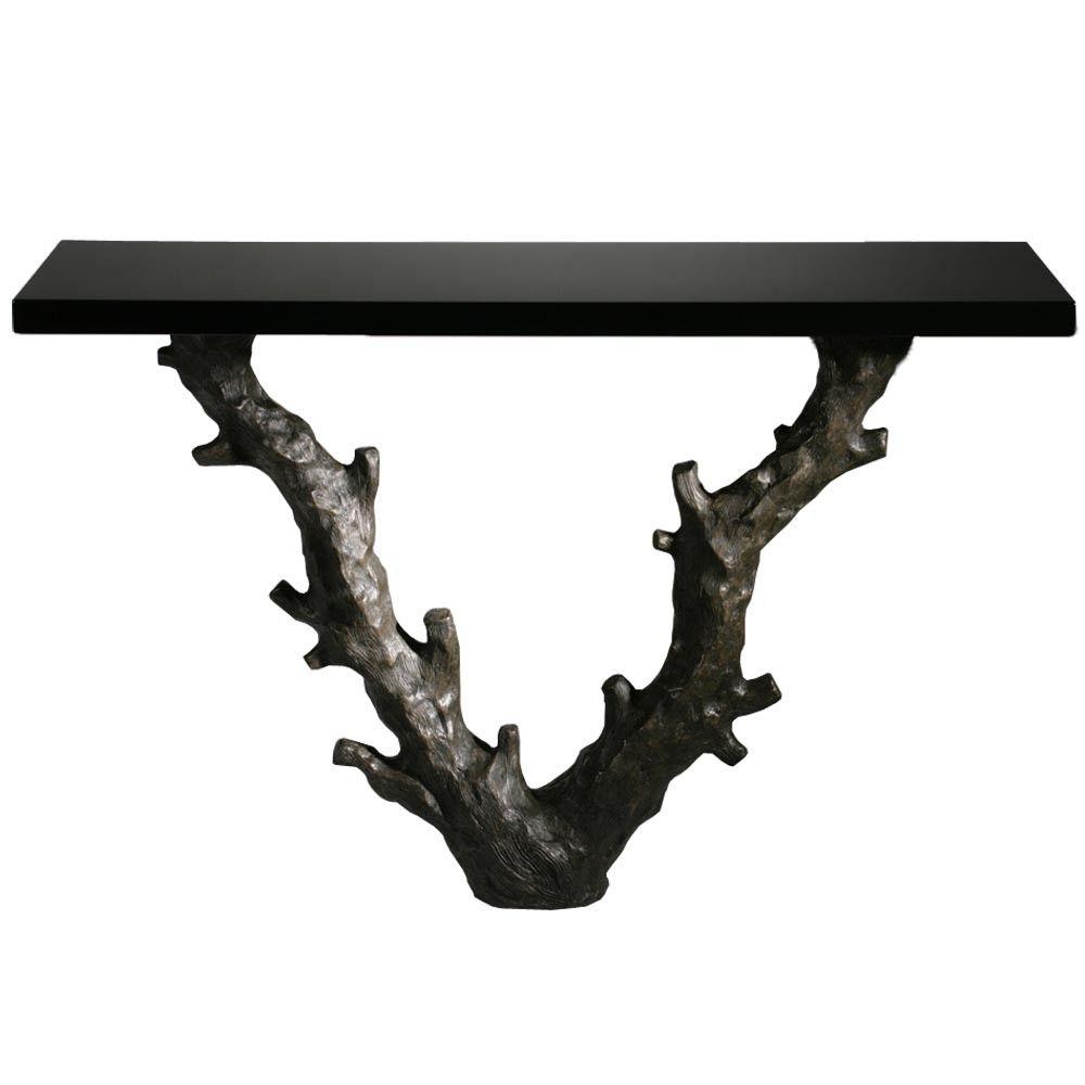 Porta romana twig console table with black lacquer top bronze porta romana twig console table with black lacquer top bronze geotapseo Gallery