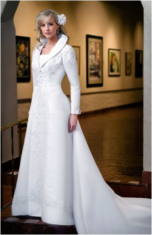Wedding Dress With Over Coat Long Sleeves Eternity 8612