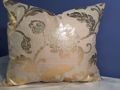 Designer Gold Printed Floral Linen; Lee Jofa Silk Back Custom pillow