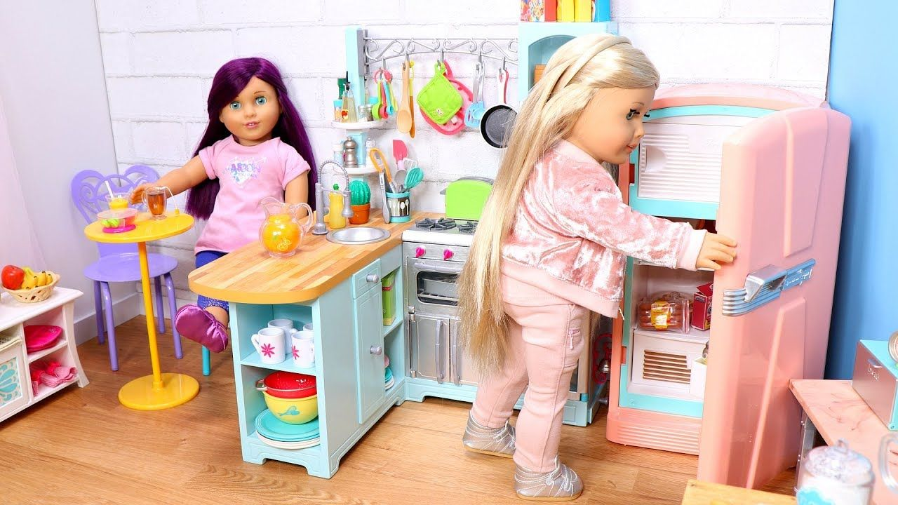 Baby Doll Kitchen In Dollhouse Setup Play With American Girl