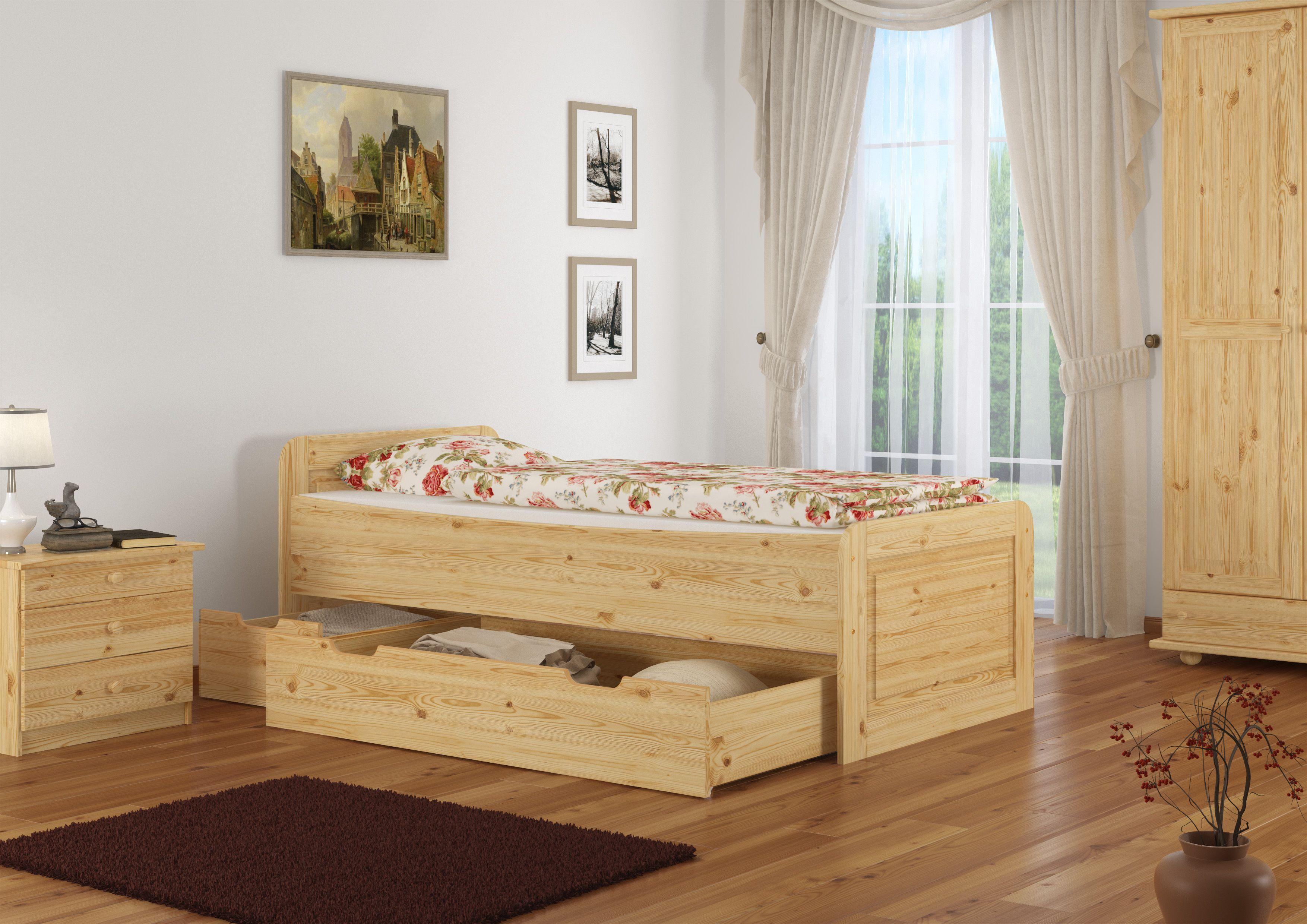 Massives Holzbett extra hoch. Für leichten Ausstieg!