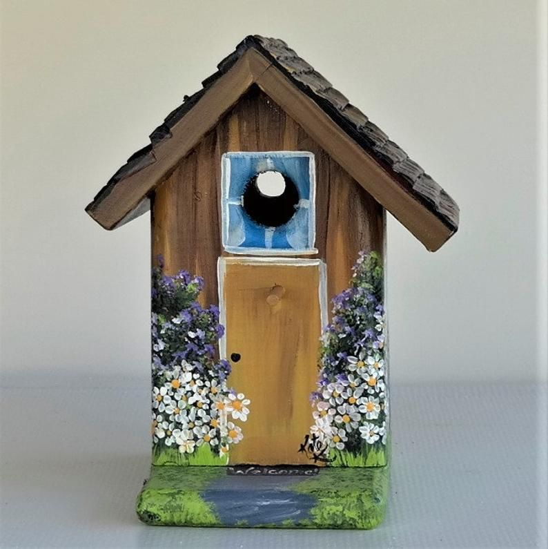 Brown , Post , Birdhouse , Handcrafted