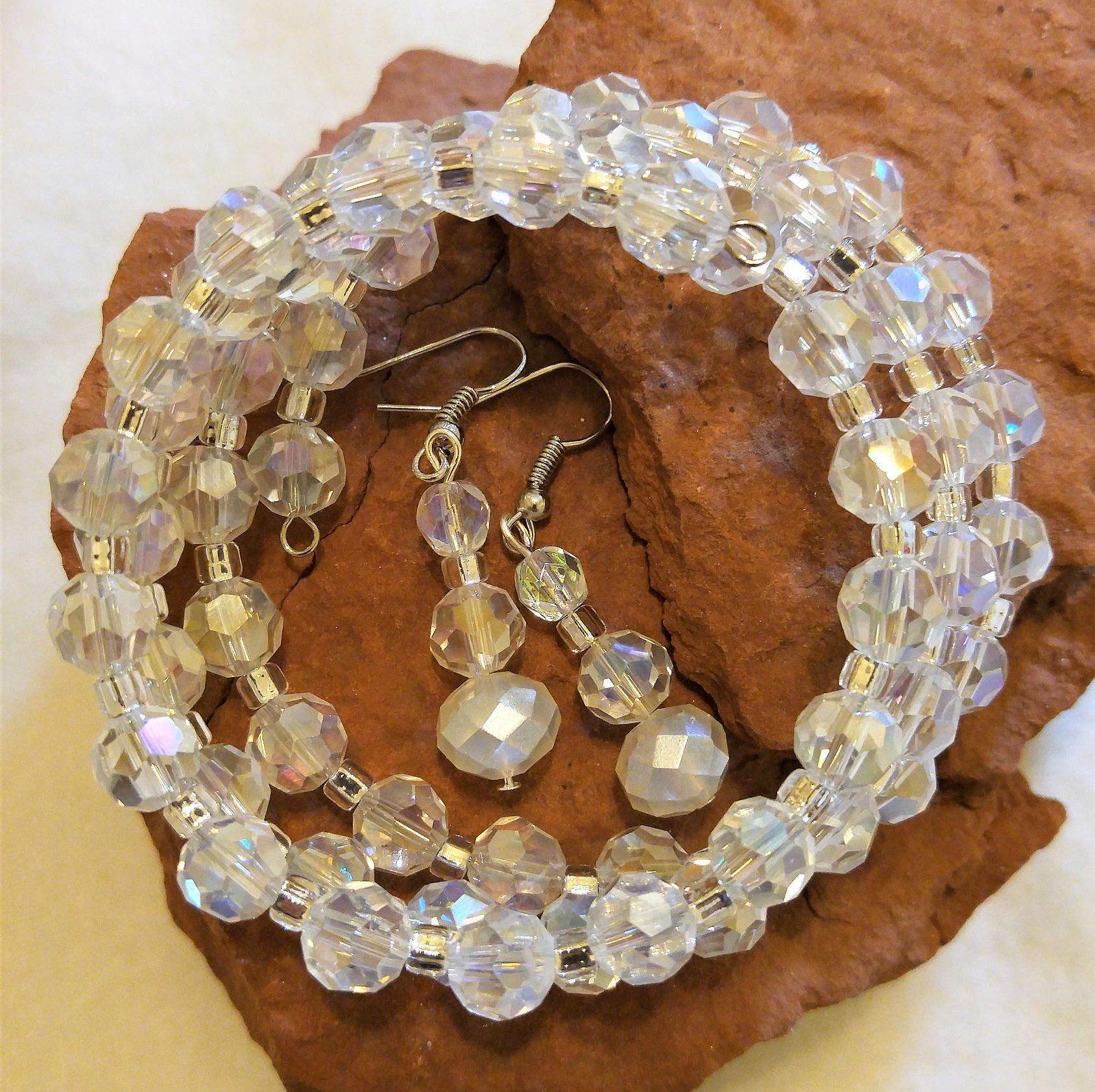 Clear Glass Bracelet /& Earrings Set B2
