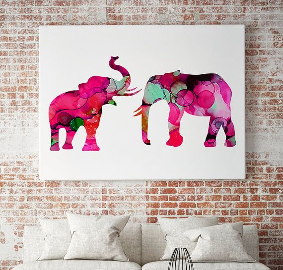 Pink Elephants Watercolor Illustration - Art Poster - Elephant Print - Bring Good Luck to your Home *SIZE Choose the size you want from the drop down menu. For custom sizes, please contact us.  *DESCRIPTION This is exclusive art poster for your home decoration and also a perfect gift for family member, friend or a colleague. *WHAT YOULL RECEIVE You will receive beautiful print with heavy professional textured paper with matte finish, professional inks and Epson printers. Frame is NOT…