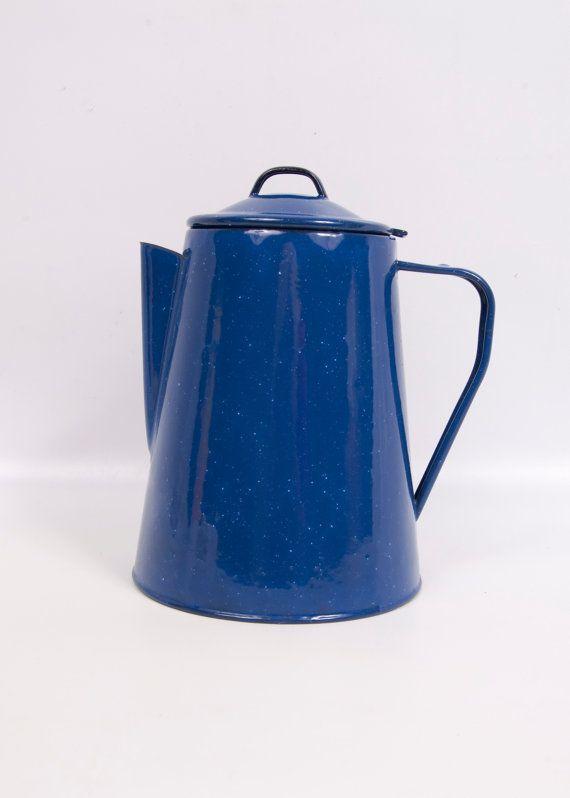 Vintage Blue Enamel Ware Coffee Pot by LeVintageGalleria on Etsy