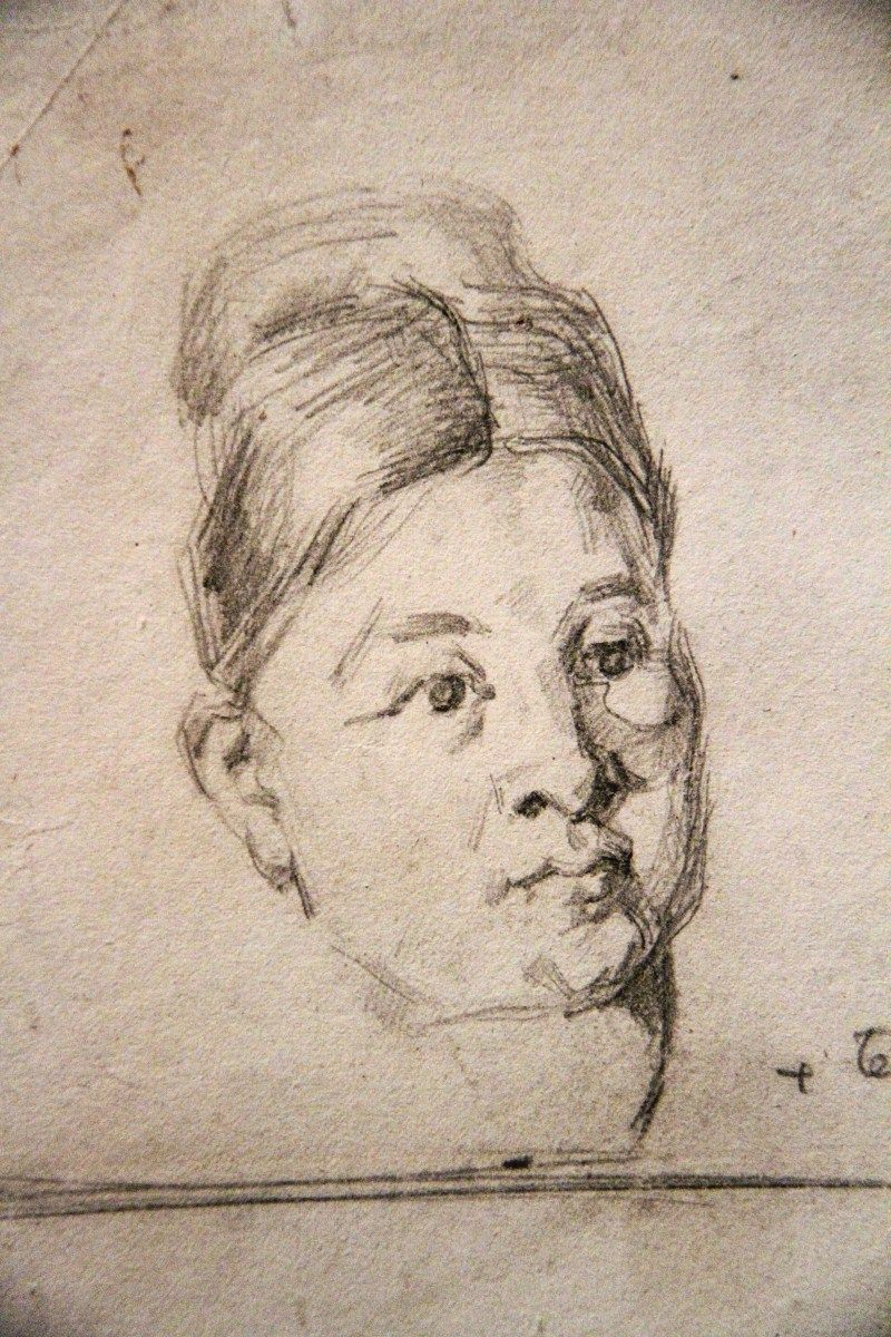 Art Vintage Pencil Drawing Portrait Paul Cézanne...