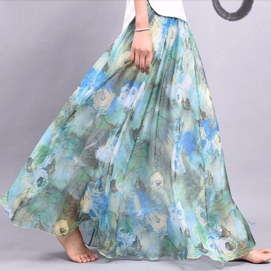 bd5c84c1ed Bohemian Floral Chiffon Pleated Women Maxi Skirt   Clothes: Modest ...