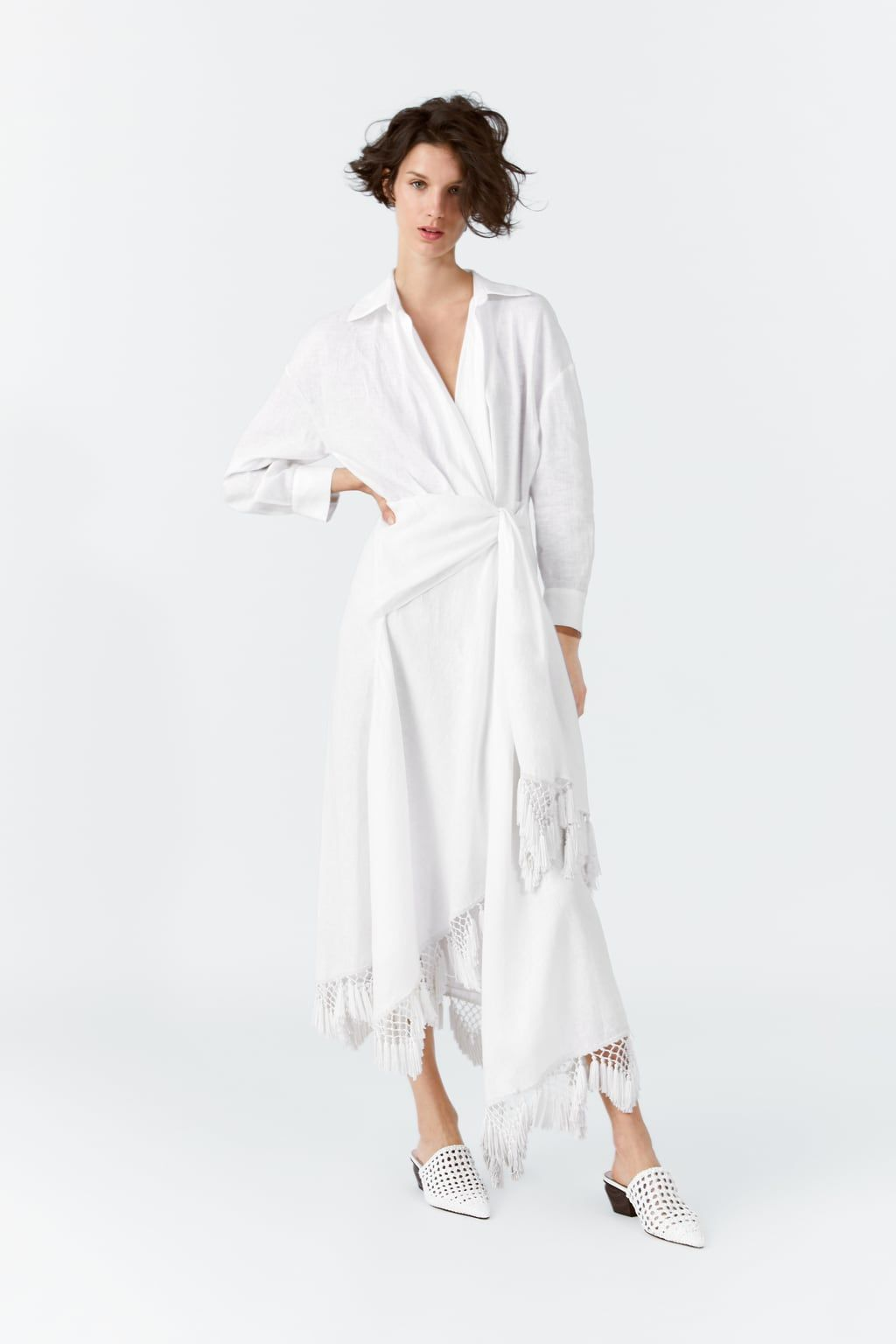 41bfdc39 FRINGED LINEN WRAP DRESS-View all-DRESSES-WOMAN | ZARA United States
