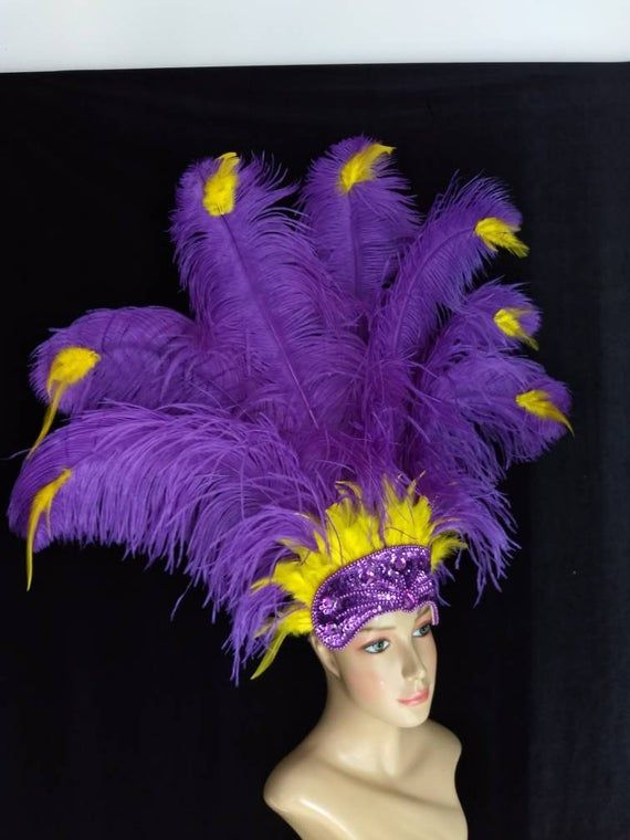 We make and ship our items really fast if you need it for a specific date please let us know. or call/text us at 954-3051817 to complete your order over the phoneFull size best quality Prime Ostrich Plumes Feather Carnival Headdress Showgirl  Rainbow Mardi Gras colors  on a purple sequined crownFeather Colors Yellow and PurpleA miamifeathers originalAll the items are new!..................Please Note: We guarantee that we will send your item by the date our processing time says we will. But plea