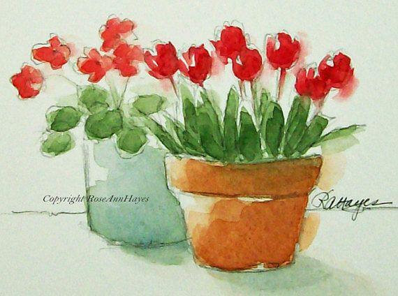 red tulips in terra cotta pot original watercolor painting