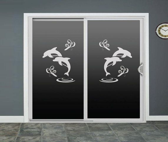 Dolphin glass door decals sliding door decal door by roomsbyangie