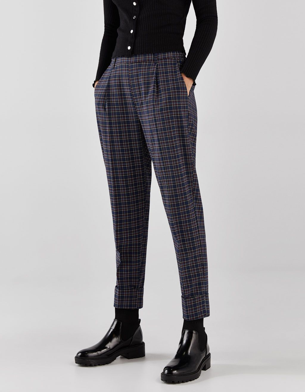 Checked Jogging Trousers With Darts Clothes Pants Fashion