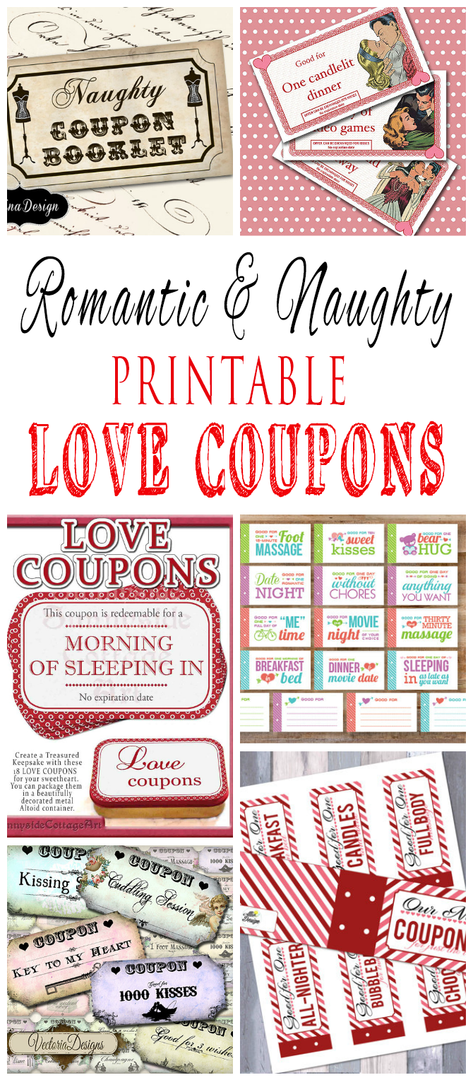 Romantic and naughty printable love coupons for him coupons gift and valentine crafts - Code promo paul valentine ...