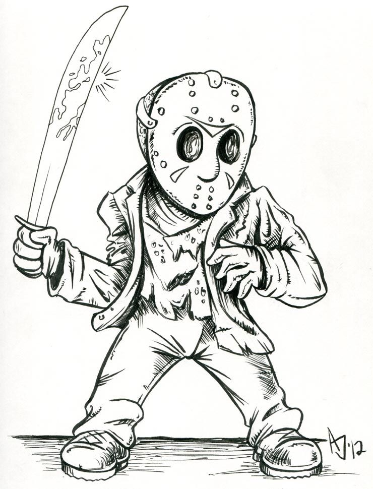 Jason Voorhees in 2019 | Horror drawing, Halloween drawings ...
