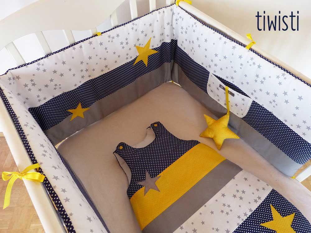 Tour de lit et gigoteuse 0-6 mois ,bleu marine, jaune, gris, blanc ...