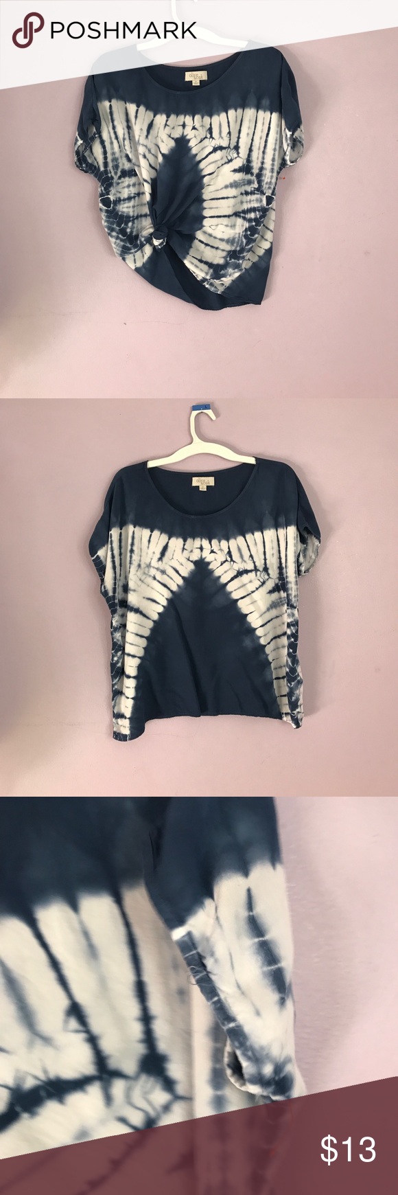 Tie Dye Tye Dye Short Sleeve Navy & White Blouse This is a pre loved top from Olive & Oak with some signs of wear along the bottom hem & the sleeve. Olive & Oak Tops Blouses