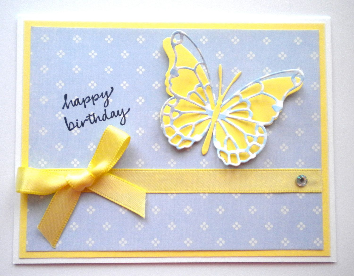 Birthday card happy birthday butterfly handmade blue and yellow items similar to birthday card happy birthday butterfly die cuts bff friend sister grandmother aunt mother teacher blue gingham yellow on etsy bookmarktalkfo Images