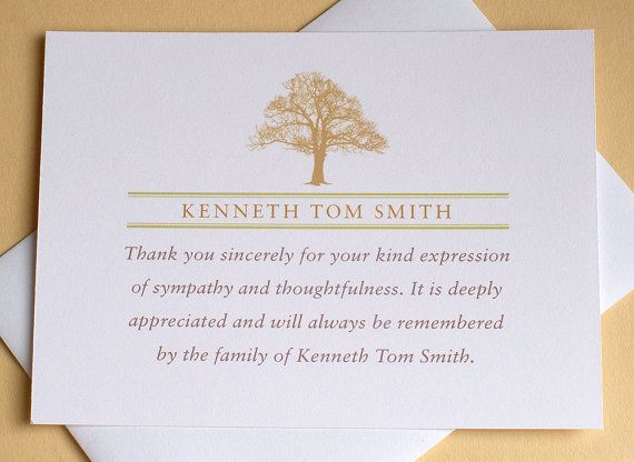 Funeral Thank You Notes With A Strong Tree  Personalized  Flat