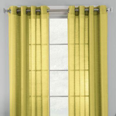 Knox Grommet Semi Sheer 84 Inch Window Curtain Panel In Citron