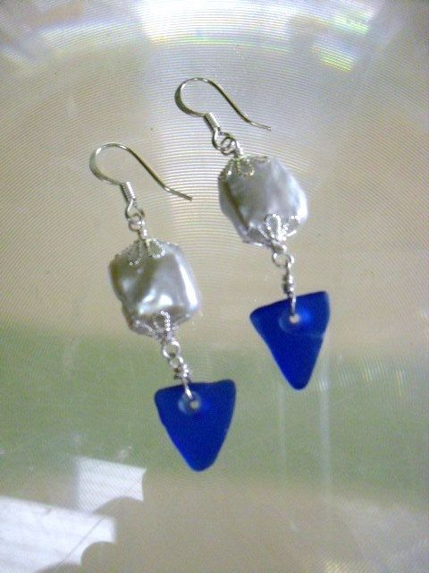 Beautiful  summer Evening Jewelry-Cobalt blue Sea Glass with Fresh by oceangirlcollection, $30.00