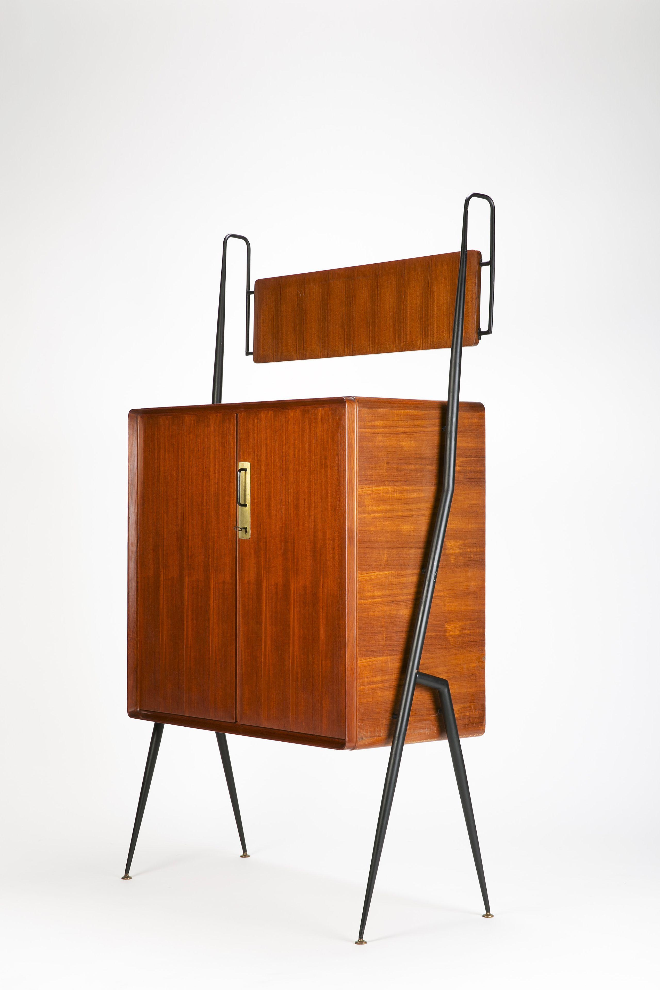 Silvio Cavatorta; Mahogany, Birch, Brass & Enameled Metal Highboard ...
