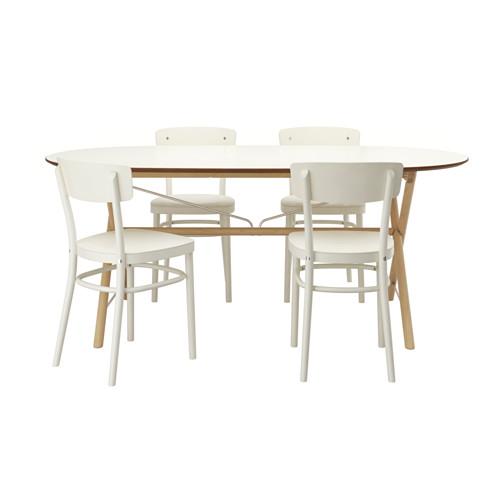 Slahult Dalshult Idolf Tisch Und 4 Stuhle Birke Weiss Ikea