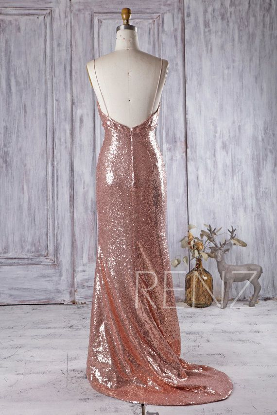 2df7e180c2 Party Dress Rose Gold Sequin Bridesmaid Dress V Neck Sleeveless ...