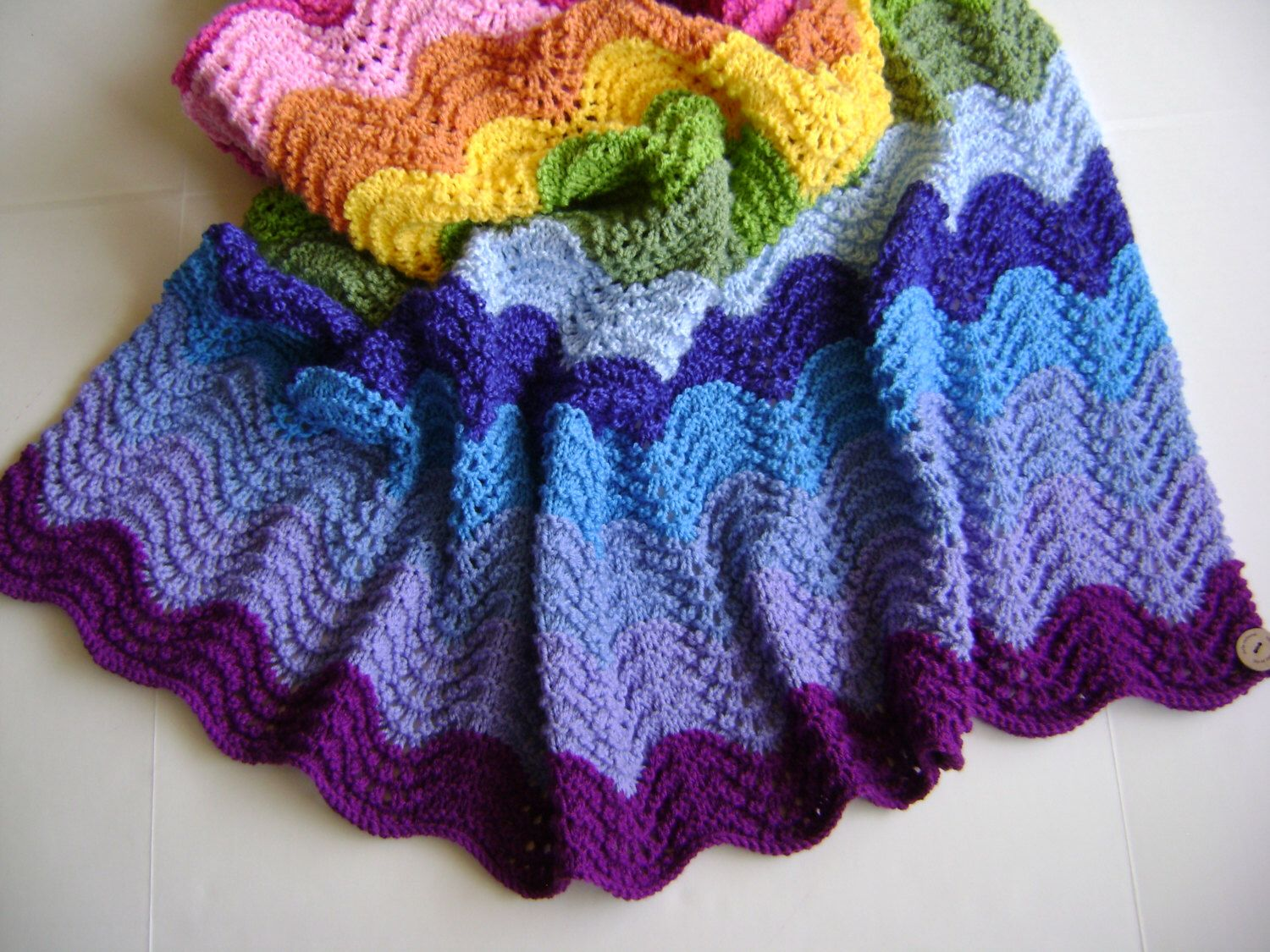 Knitting In Technicolor Waves Blanket Pattern - Perfect for the ...