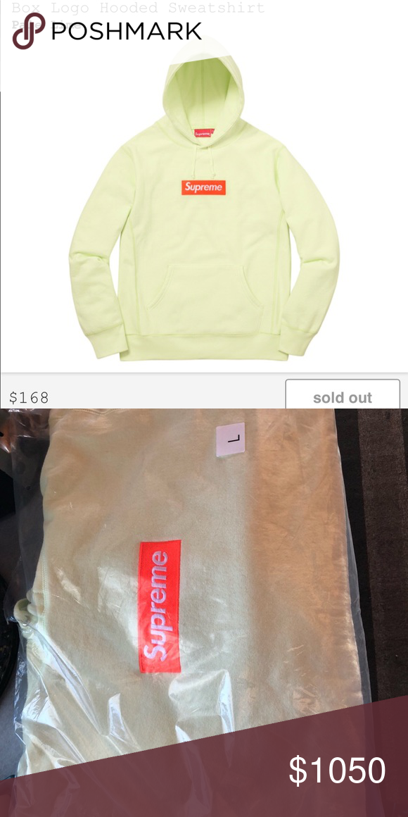 ef744534a4b5 Supreme Pale Lime Box Logo Sweatshirt   Hoodie L New fw17 collection pale  lime size large