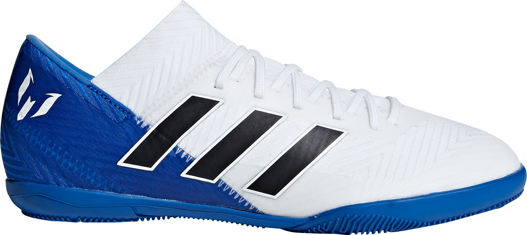 size 40 08fe3 a6957 adidas Kids  Nemeziz Messi Tango 18.3 Indoor Soccer Shoes, White