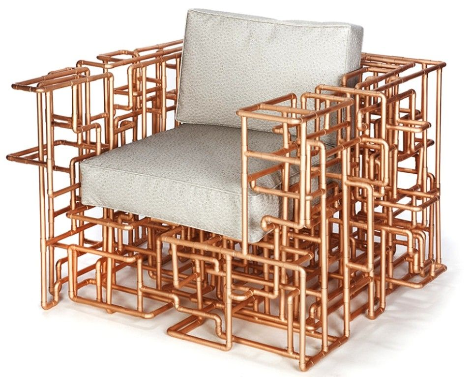 Copper Pipe Furniture one-of-a-kind armchair boasts intrinsic maze of copper piping