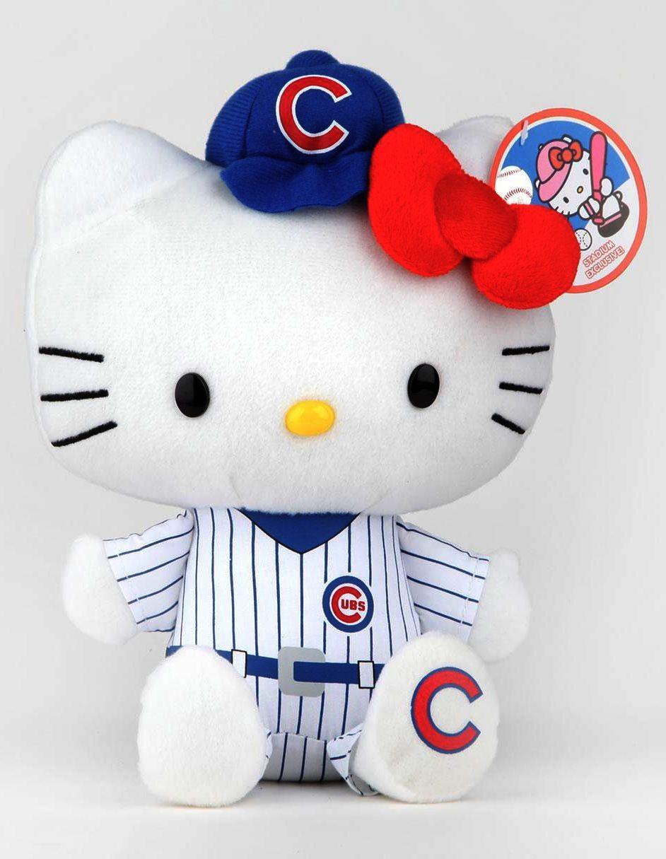 "Go Hello World: CHICAGO Cubs Hello Kitty MLB 9"" Plush"