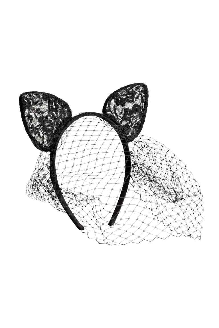8e83749b6 Alice band with ears and veil: Satin-covered Alice band with a veil and  ears in tulle.