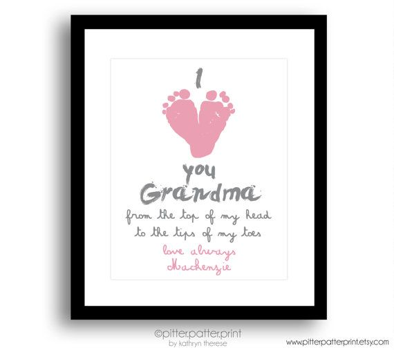 Gift For Grandma Personalized I Love You Baby Footprint Art Print Birthday Grandmother New