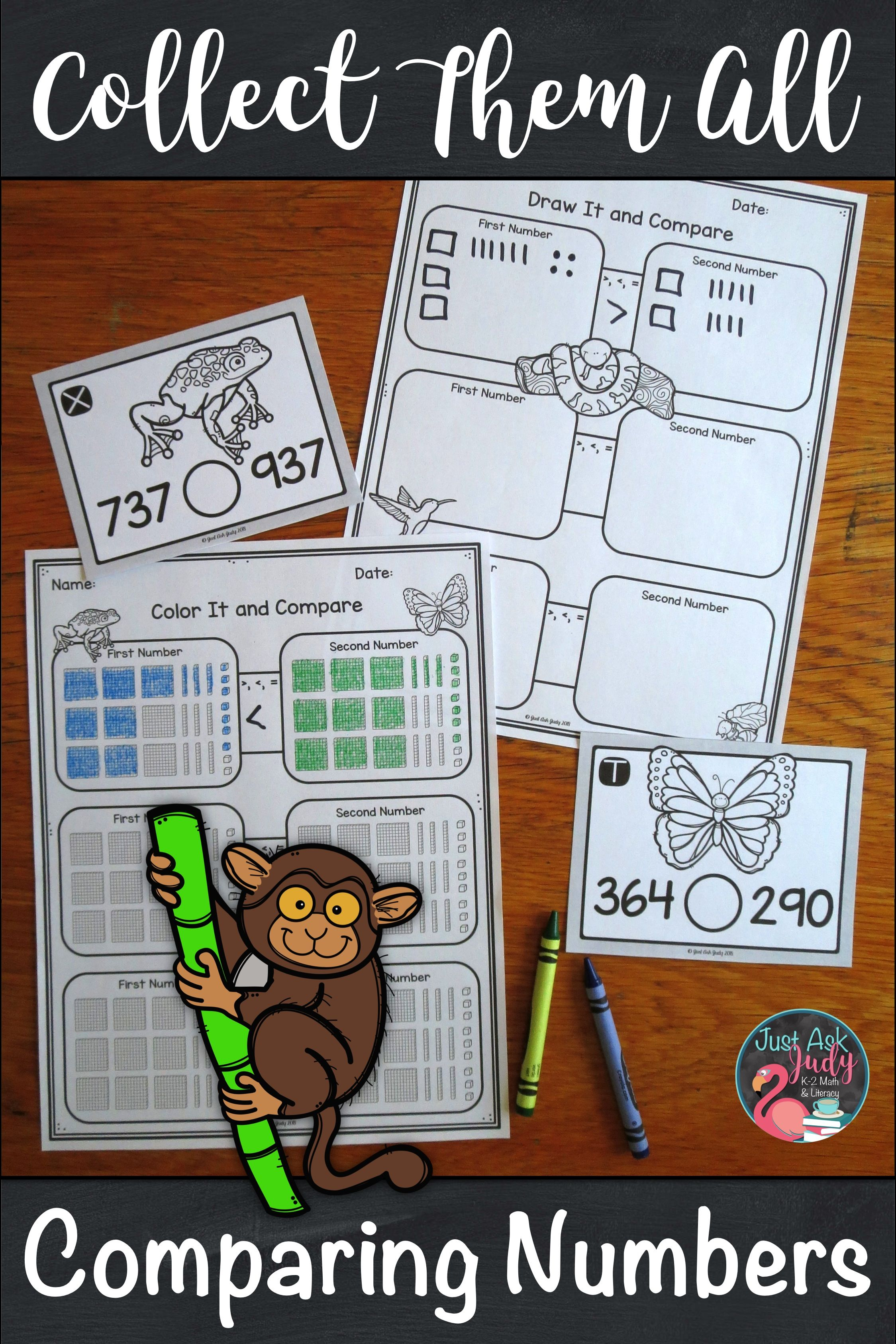 Comparing Three Digit Numbers Rainforest Animals Task Card
