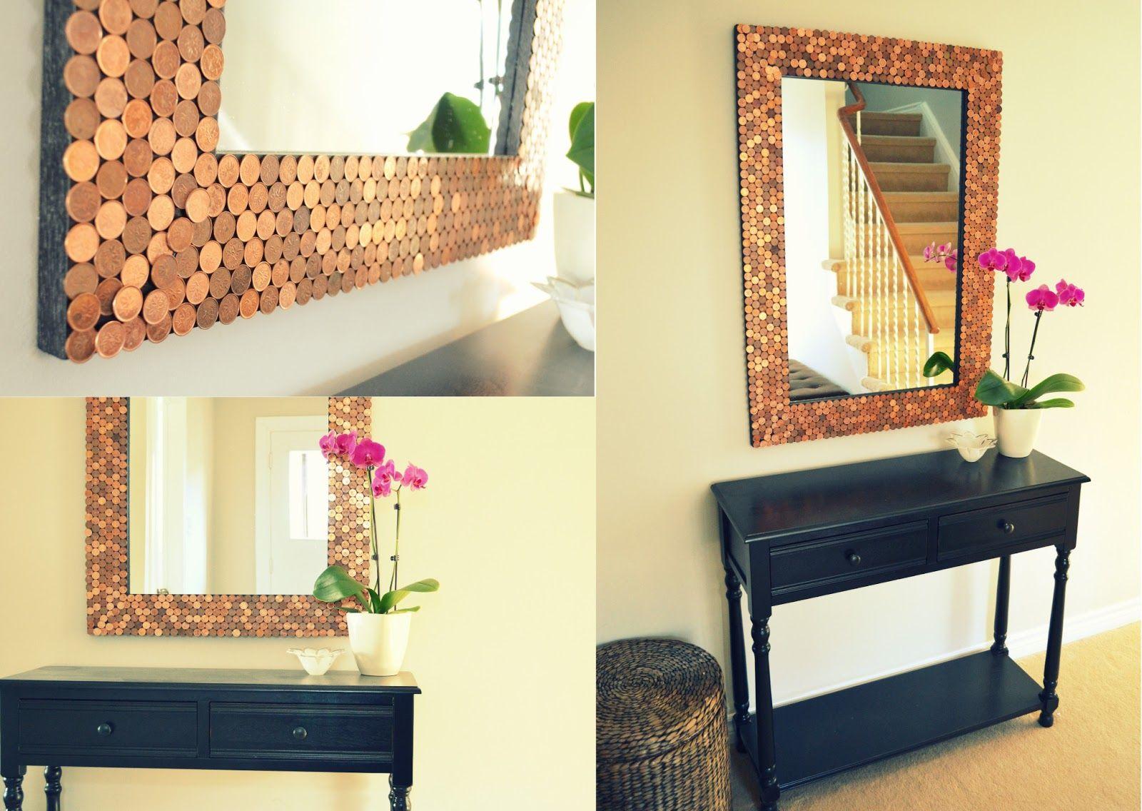 Penny Tiled Mirror Recent Features Mirror Frame Diy Diy