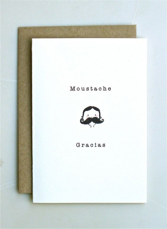 Moustache Gracias Thank You Card Handmade Paper Goods Wedding