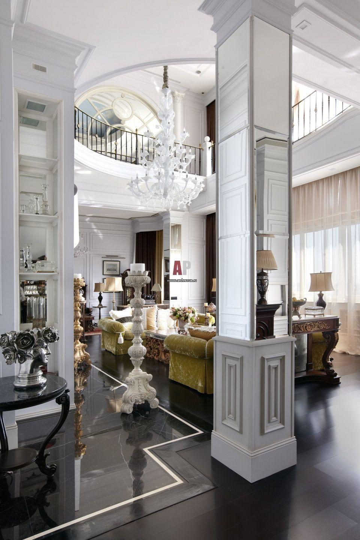 Фото интерьера гостиной пентхауса в стиле неоклассика ...