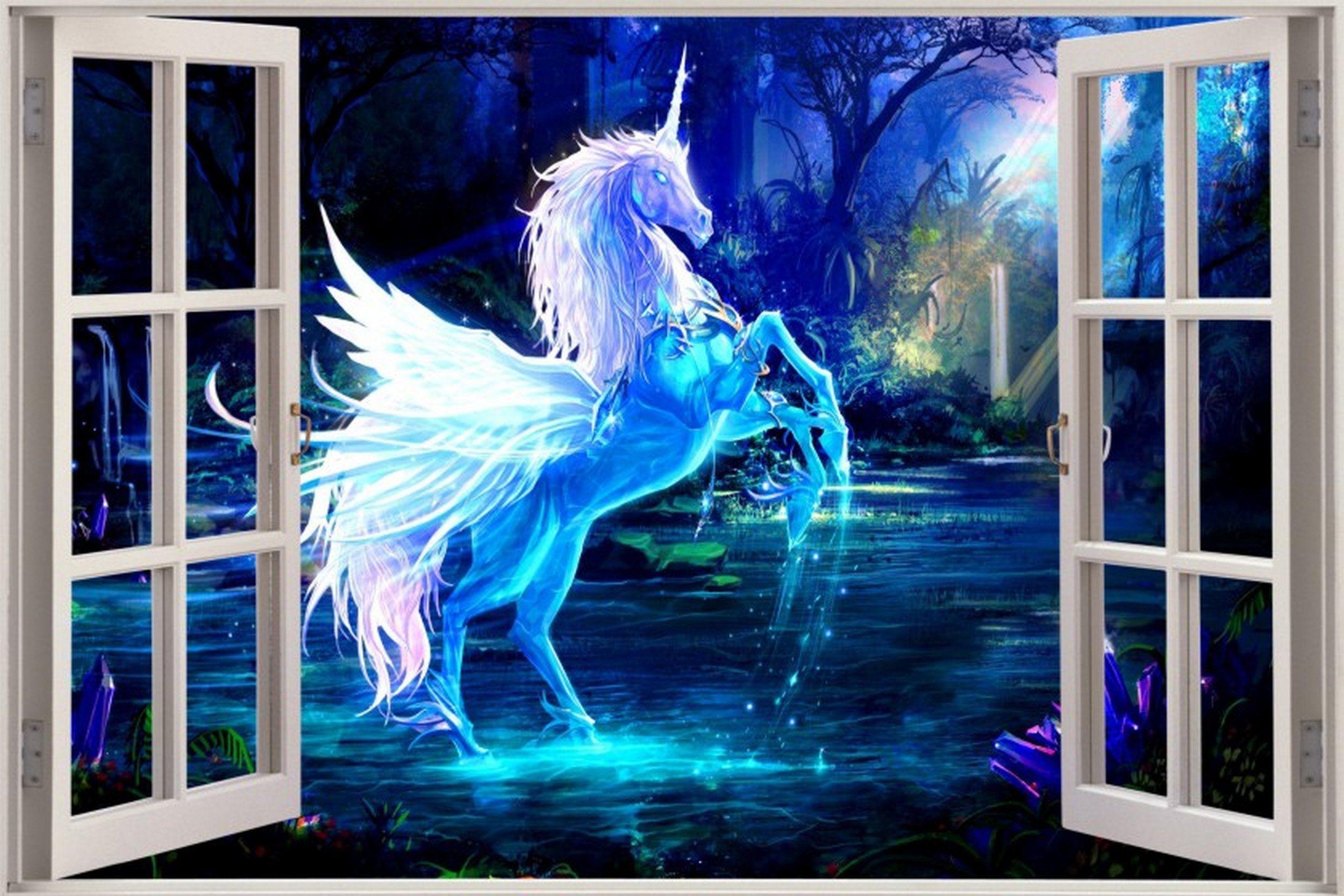 Huge 3d window view fantasy unicorn pegasus wall sticker