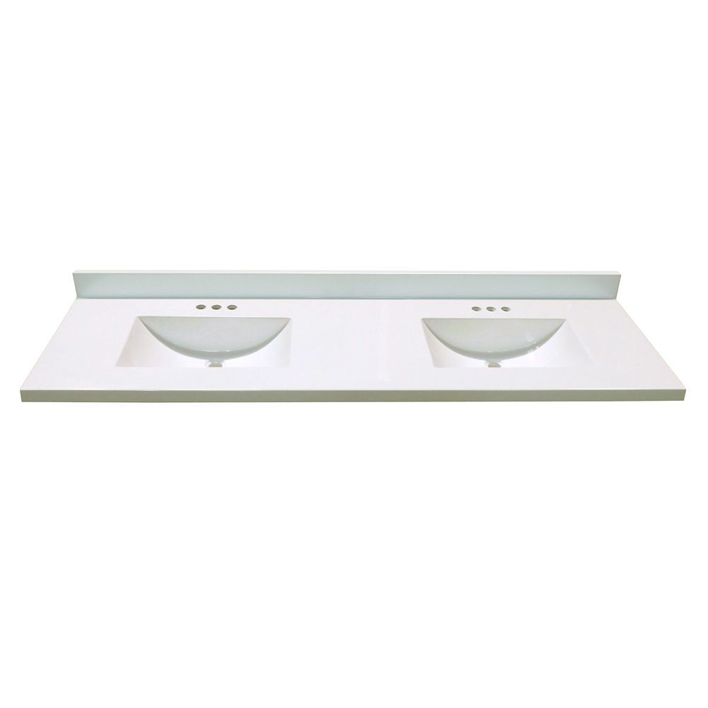 73 Inch W X 22 Inch D Marble Vanity Top White With 2 Wave Bowls
