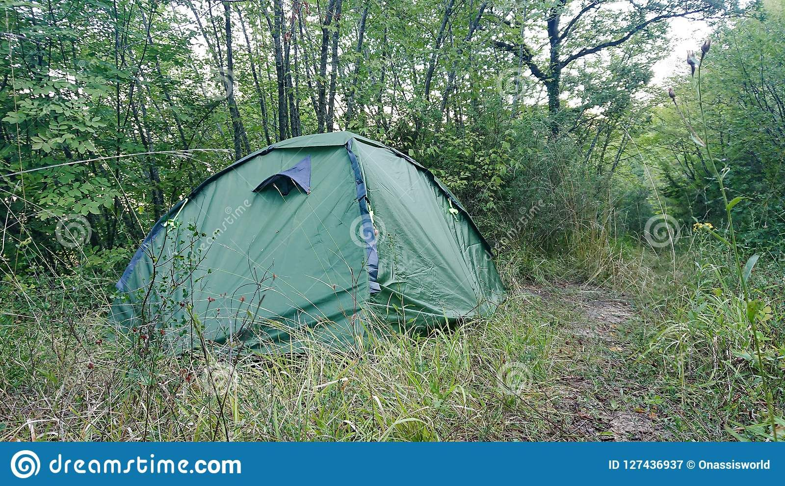 Photo about A two man green tent pitched in the ...
