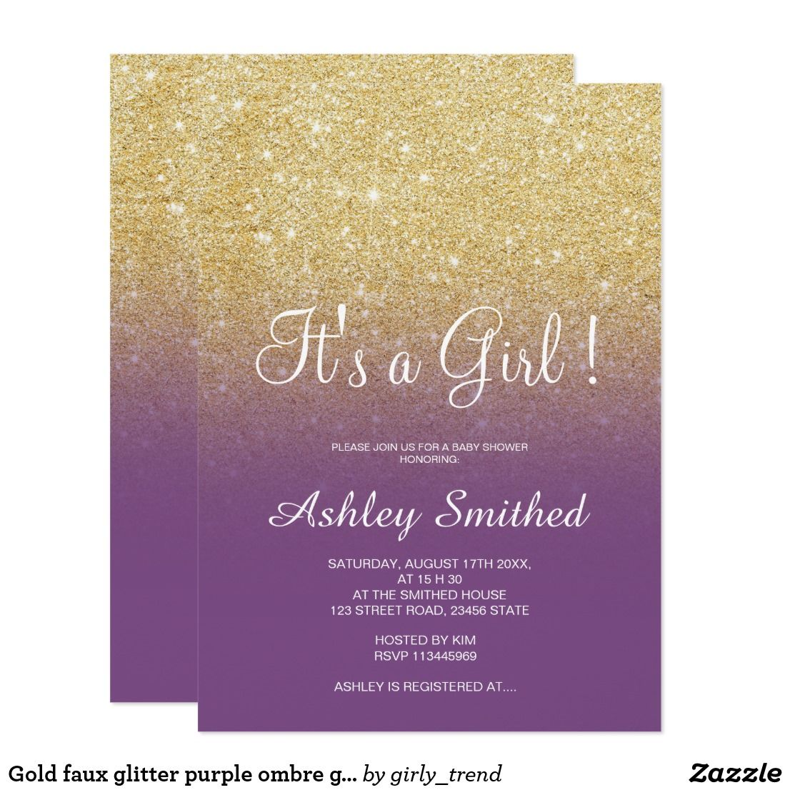 Gold faux glitter purple ombre girl baby shower card | baby shower ...