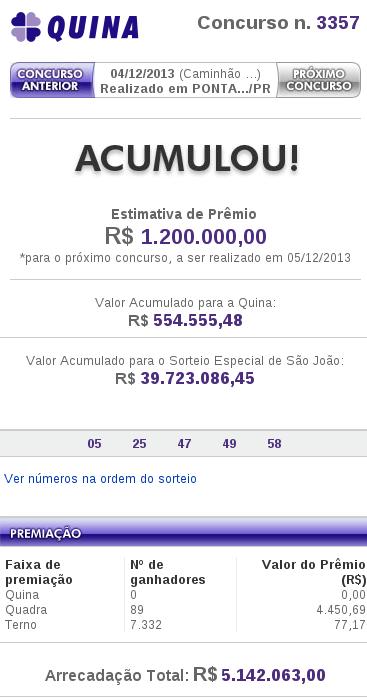 Resultado da Quina 3357 – 04/12/2013. Mais em http://esorte.com/quina/quina-3357.html