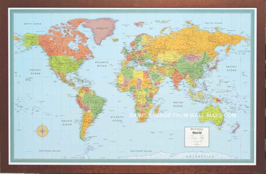 Rand-McNally M-series map framed 50 x 32 | Walls | Pinterest