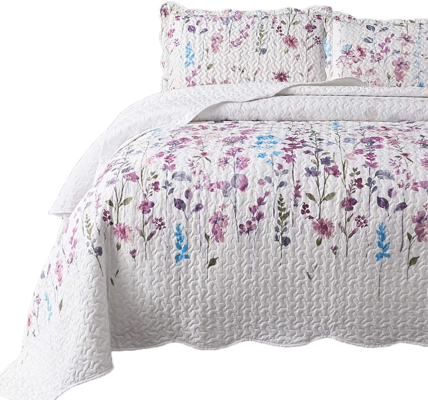 Bedsure Queen Full Size 90x96 Inches 3 Piece Quilt Set Coverlet Lilac Flower Pattern Lightwe In 2020 Quilt Sets King Size Quilt Coverlet Set