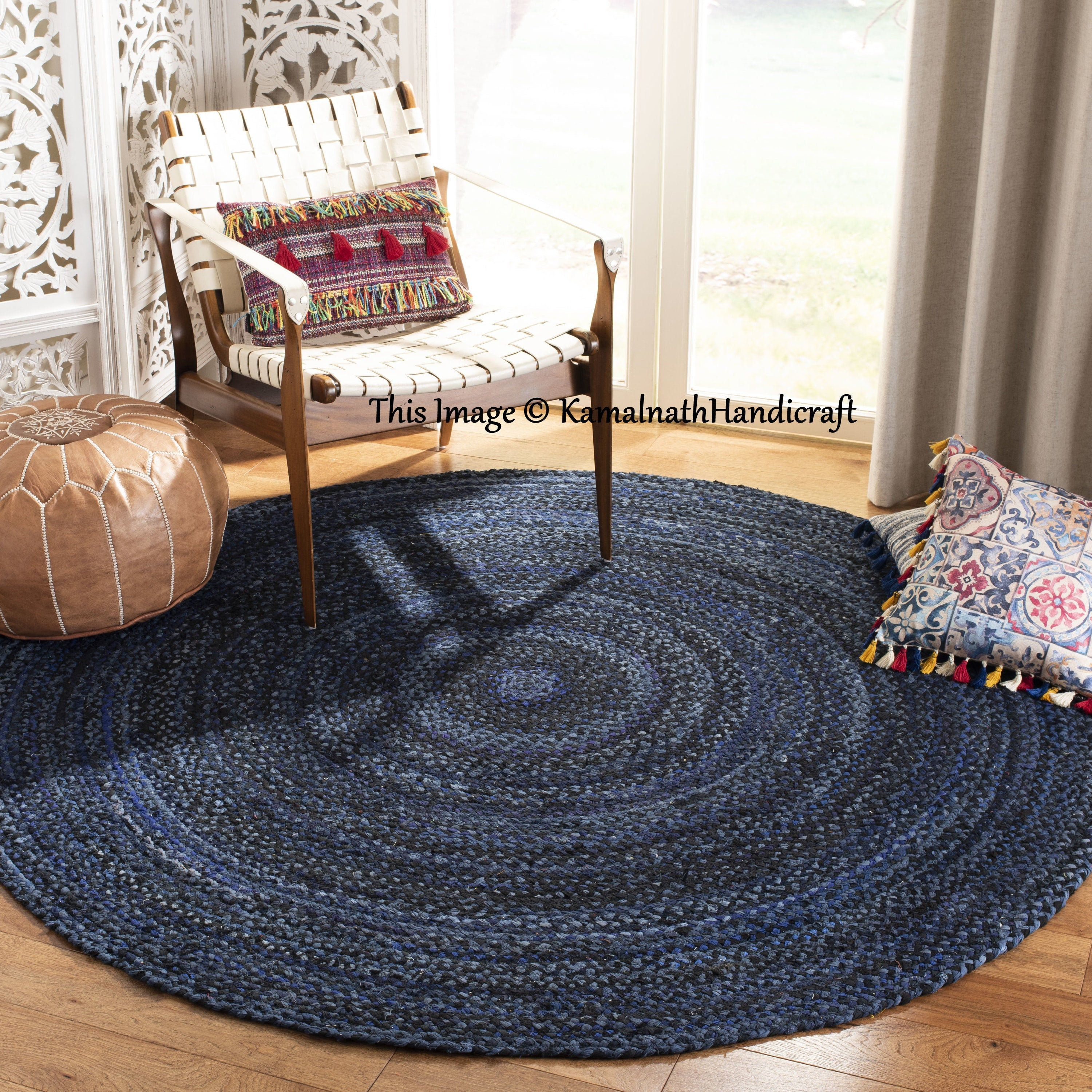 Indian Handmade Hand Braided Bohemian Cotton And Jute Area Rug Etsy In 2020 Round Braided Rug Rugs On Carpet Rugs Size