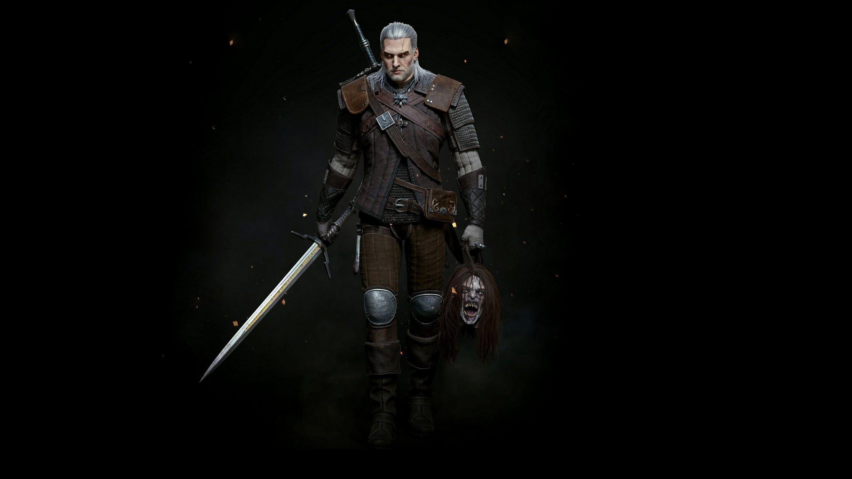 Swords Black Background Geralt Of Rivia Gwynbleidd White Wolf The Witcher 3 Wild Hunt The Witcher 3 Wild Hunt Sw Black Backgrounds White Wolf Wolf Wallpaper