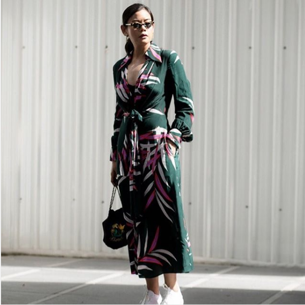 6362c21f98100 Soraya V. wearing The DVF Von Dress at Elle Fashion Week 2018. Photographed  by