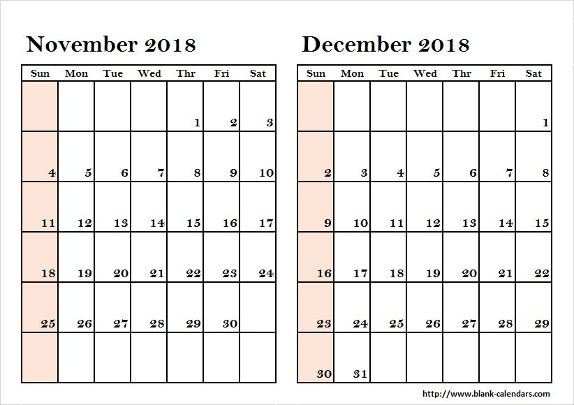 picture about November and December Calendar Printable named 2 Thirty day period November December 2018 Calendar Calendar